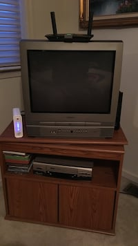 gray CRT TV with brown wooden TV stand Easton, 18040