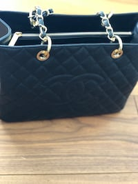 quilted black leather tote bag null