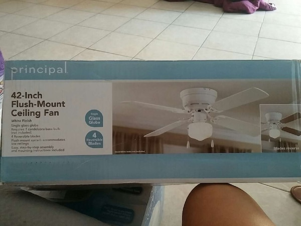 Used white principal 42 inch flush mount ceiling fan for sale in white principal 42 inch flush mount ceiling fan aloadofball Image collections