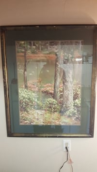 garden near water painting with brown wooden frame 3809 km