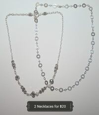 two silver-colored chain necklaces