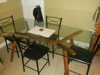 Tempered glass dining room table & RussianOak legs Calgary, T2C 1V4