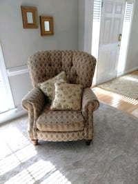 brown and white floral fabric sofa chair Raleigh, 27616