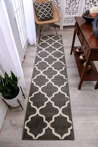 New Modern Hallway Runner Rug 2X8 White lines Carpet
