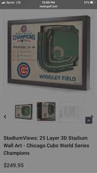 3D wood carved Wrigley Field