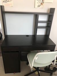 Black wooden desk with hutch null