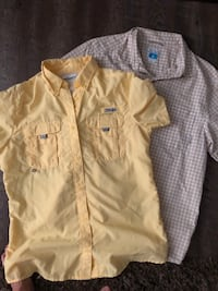 Lot of 2 shirts: Columbia PFG yellow men's medium with vented back and Columbia men's medium white and khaki check button up Lake Park, 31636