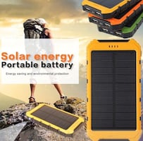 Solar phone charger battery bank with LED lights