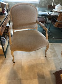 brown wooden framed beige padded armchair Huntington Beach, 92647