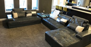 Leather sectional sofa.