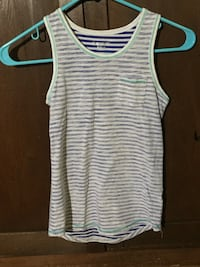 white and gray stripe tank top