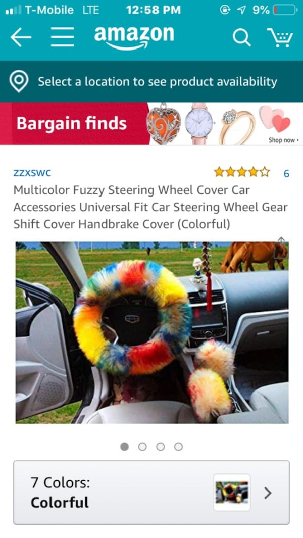 Fuzzy Multi color steering wheel cover d84c87ef-73e8-456b-8200-0ddf691a1fcf