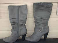 Gray Faux Suede High Heel Boots Size 8.5 Moore