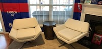 Two white leather padded sofa chairs Woodbridge, 22191