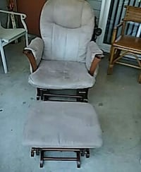 brown wooden gliding chair with ottoman set and grey suede seat cover