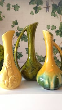two yellow and one green ceramic vases Hyde Park, 12601