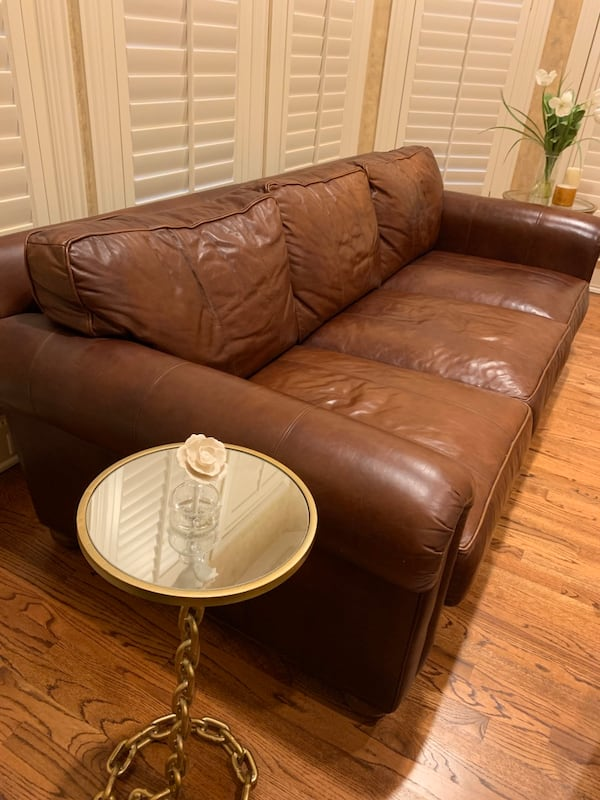 Used Ethan Allen Leather Sofa For