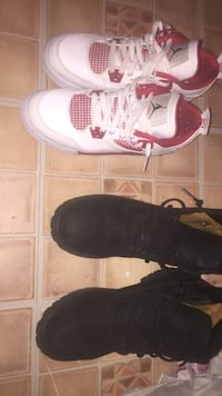 white and red air jordan flight and black leather work boots New York, 10451