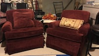 Two red fabric armchairs Vaughan, L6A 4K9
