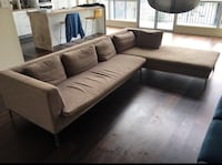 brown fabric sectional sofa with throw pillows Toronto, M5J