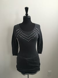 Brand new grey sweater with rhinestones size M