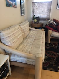 Wood frame sofa / couch.