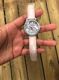 round silver chronograph watch with white leather strap Greensboro, 27408
