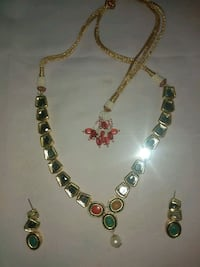 silver and green beaded necklace Jaipur, 302001