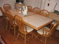 rectangular brown wooden table with six chairs dining set Newark