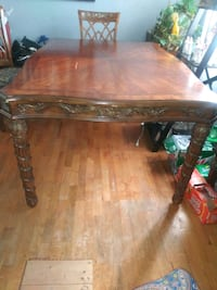 rectangular brown wooden dining table Greenwood