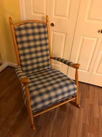 REDUCED- Rocking Chair, wooden, upholstered Chantilly, 20151