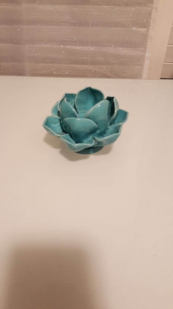 Used Blue Lotus Flower Ceramic Candle Holder For Sale In Metairie