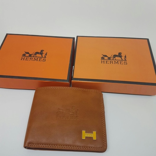 black leather HERMES bifold wallet with box