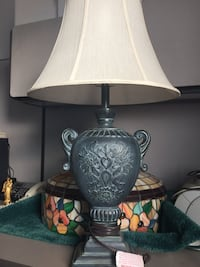 Grey Vintage Looking Table Lamp with Shade Roseville, 48066
