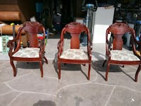 3 vintage carved back wooden armchairs Las Vegas, 89122
