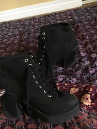 pair of black suede chunky heeled boots Oceanside, 92056