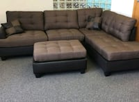 Brand New Brown Linen Sectional Sofa +Ottoman  Silver Spring
