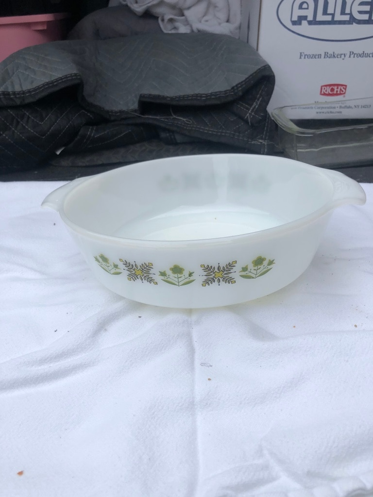 Photo Vintage Fire King Anchor Hocking Meadow Green Pattern,Glass Casserole