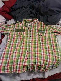 green, white, and red plaid western button-up shirt