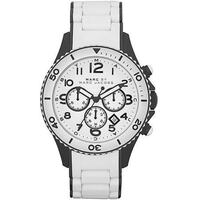 round silver chronograph watch with white leather strap Hamilton, L8N