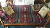red and blue couch