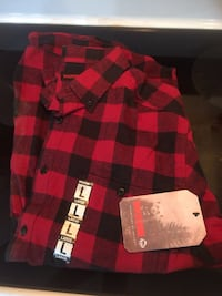 New Wolverine LS Flannel Shirt-Size Large-Red and Black  Irvington, 36544