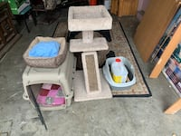 Cat tower, cat bed and pillow, litter box and half full litter, also a cage is all included Columbus, 43227