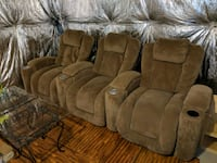 brown suede 3-seat recliner sofa Clinton