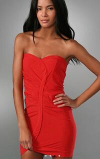 Alice and Olivia Asymmetrical Red Sweetheart Bustier Dress in XS 3157 km