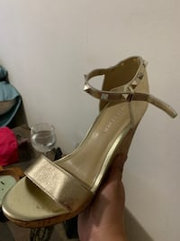 Pair of brown leather open toe ankle strap heels Massapequa, 11758