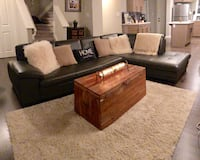 New grey genuine leather sectional - mint condition Edmonton, T6W 2G6