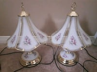 white and pink floral ceramic table lamp Whitby, L1P 1S7