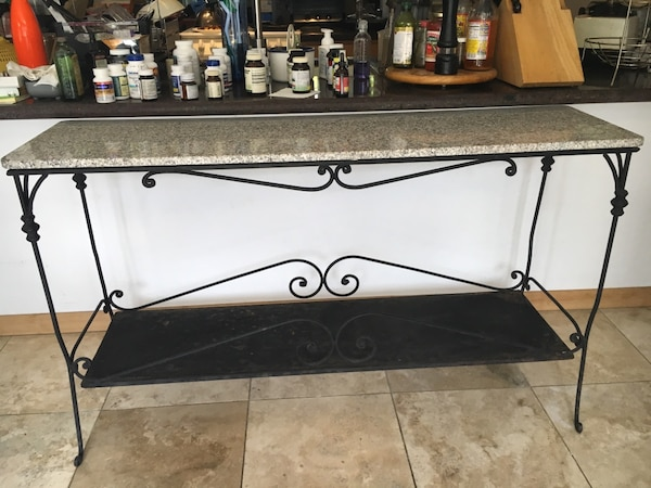 Wrought iron & granite sofa table