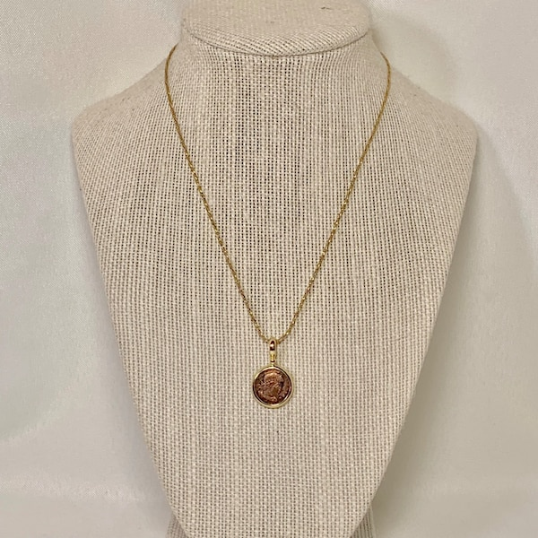 Genuine 14k Gold Roman Coin Pendant with 14k Rope Chain 597c2ffd-ae92-4626-b60f-7ea468a89989